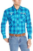 Wrangler Men's Western Logo Long Sleeve Woven Shirt