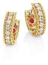 Roberto Coin Women's Symphony Braided Diamond & 18K Yellow Gold Huggie Hoop Earrings