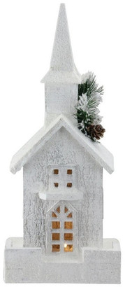 "Church's Northlight 16.5"" LED Lighted White Wooden Snowy Christmas Decoration"