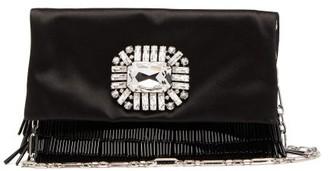 Jimmy Choo Titania Crystal-embellished Satin Clutch - Black