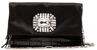 Jimmy Choo Titania Crystal-embellished Satin Clutch - Womens - Black