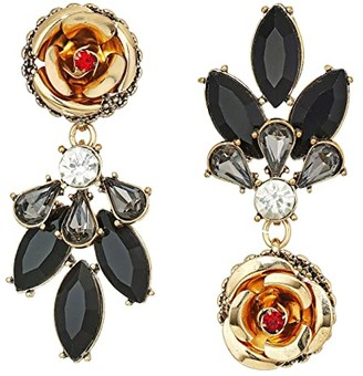 Betsey Johnson Rose Perfect Non-Matching Earrings (Jet) Earring