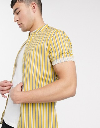 ASOS DESIGN skinny fit stretch stripe shirt with grandad collar in mustard