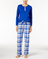 Jockey Henley Top and Printed Flannel Pants Pajama Set