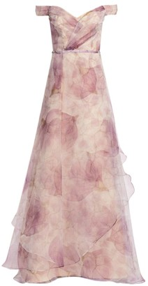 Rene Ruiz Collection Floral Organza Off-The-Shoulder Gown