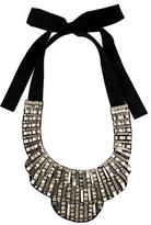 Oscar de la Renta Chrome & Crystal Bib Necklace