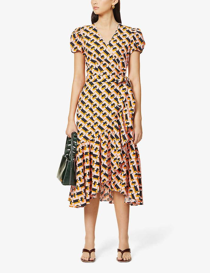 Diane von Furstenberg Vienna graphic-print linen-blend midi dress
