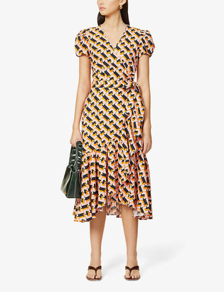 Diane von Furstenberg Vienna graphic-print linen-blend midi dress