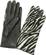 Forzieri Women's Zebra Pony Hair and Italian Nappa Leather Gloves
