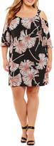 Robbie Bee 3/4 Sleeve Floral Shift Dress-Plus