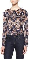 T-Bags LosAngeles T Bags Long-Sleeve Tribal-Print Top, Navy/Multi Colors