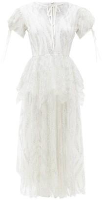 Rodarte Peplum-waist Glitter-tulle Dress - Silver