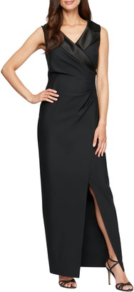 Alex Evenings Notched Collar Jersey Gown