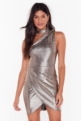 Nasty Gal Womens Everybody Dance High-Neck Mini Dress - Metallics - 8