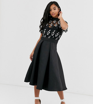 Little Mistress Petite embroidered upper skater dress