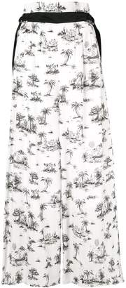 Loveless palm print palazzo pants