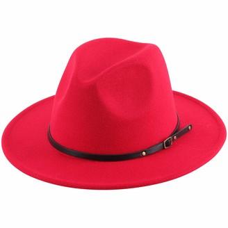 Lanzom Women Lady Retro Wide Brim Floppy Panama Hat Belt Buckle Wool Fedora Hat - brown - One Size