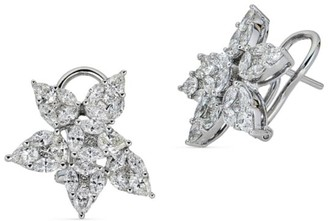 Zydo Mosaic 18K White Gold & Diamond Flower Earrings
