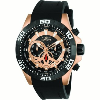 Invicta Men's 21740 Aviator Rose Gold and Black Dial Black Polyurethane Strap Day Date Watch