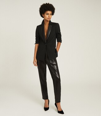 Reiss Alexia - Sequin Trimmed Wool Blend Blazer in Black