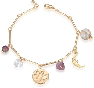 7 Symbols of Faith Inspirations 14k Gold-Dipped Crystal Angel Chain Link Charm Bracelet