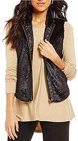 Multiples Faux-Leather Trim Banded Collar Zip Front Faux-Fur Vest