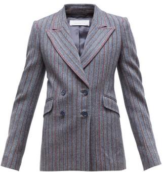 Gabriela Hearst Angela Double Breasted Striped Herringbone Blazer - Womens - Grey Multi