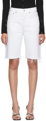 AGOLDE White Denim 90s Mid-Rise Loose Shorts