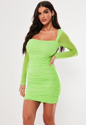 Missguided Neon Green Square Neck Mesh Bodycon Mini Dress