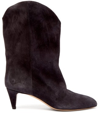 Isabel Marant Dernee Leather Ankle Boots - Womens - Black