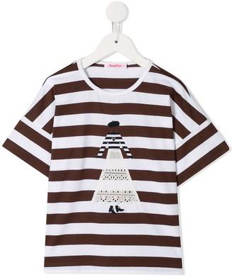 Familiar figure striped T-shirt