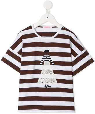 Familiar figure striped T-shirt