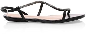Schutz Georgia Lee Crystal-Embellished Leather Sandals