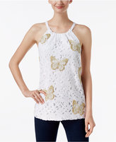 INC International Concepts Embroidered Lace Halter Top, Only at Macy's