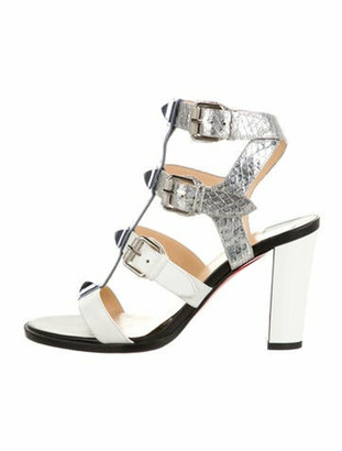 Christian Louboutin Rocknbuckle 85 Leather T-Strap Sandals White