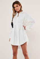 Missguided White Elasticated Waist Shirt Dress