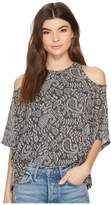 Lucky Brand Cold Shoulder Open Front Top Women's Short Sleeve Pullover