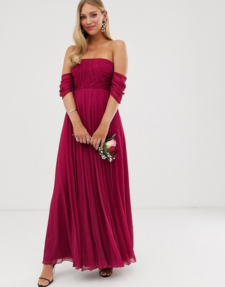 Bardot Asos Design ASOS DESIGN Bridesmaid ruched pleated maxi dress-Red