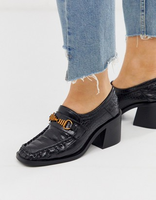 ASOS DESIGN Security chunky mid-heeled loafers in black croc