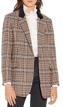 Sandro Daly Checkered Tweed Blazer