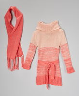 Dollhouse Coral Ombré Belted Sweater Dress & Scarf - Toddler & Girls