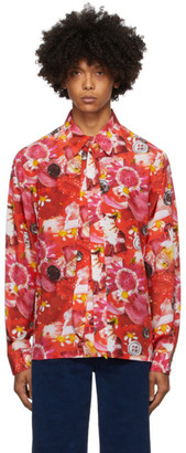 Marc Jacobs Red and Black Maisie Cousins Edition Silk Shirt
