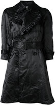Comme des Garcons ruffled belted coat - women - Cotton/Polyester/Cupro - S