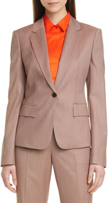 HUGO BOSS Jaxtina One Button Notch Lapel Wool Suit Jacket