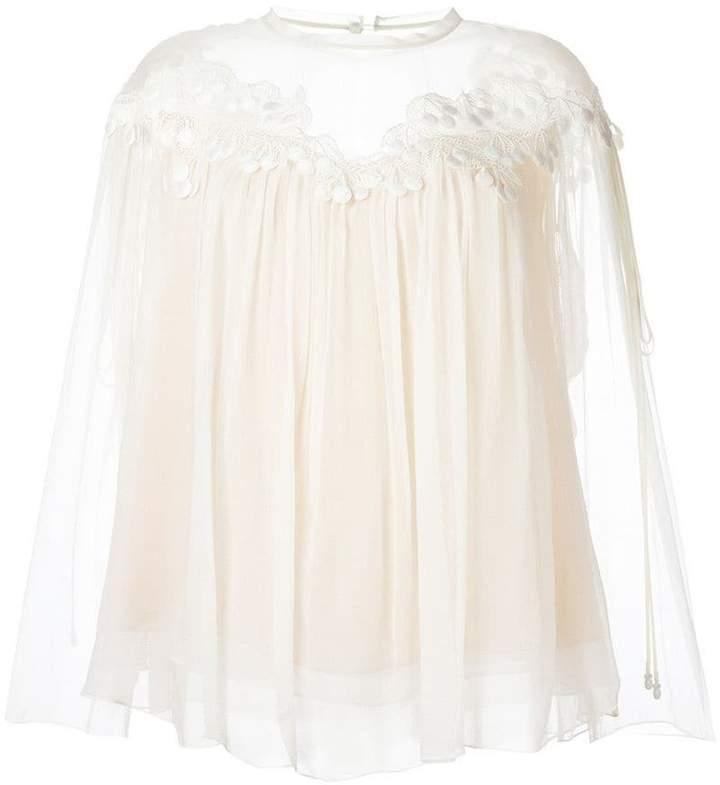 Chloé cherry guipure blouse