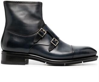 Santoni Buckle-Fastening Leather Boots