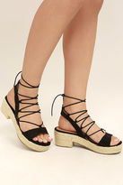 C Label Jenay Black Lace-Up Espadrille Platforms