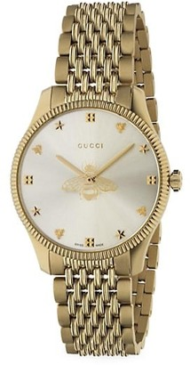 Gucci G-Timeless Slim Yellow Gold PVD Stainless Steel Bracelet Watch