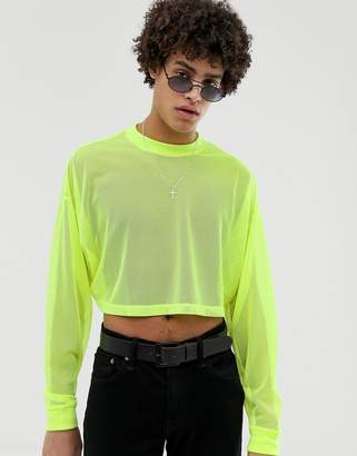 Asos Design DESIGN festival oversized cropped long sleeve t-shirt in neon mesh-Yellow