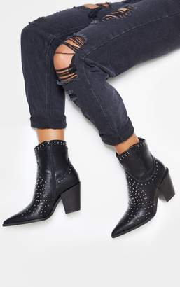 PrettyLittleThing White Point Toe Stud Detail Western Heel Ankle Boot